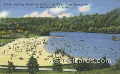 Bathing Beach & Lake - Fairy Stone State Park, Virginia VA Postcard