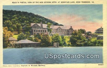 New Modern Hotel, Mountain Lake - Pembroke, Virginia VA Postcard