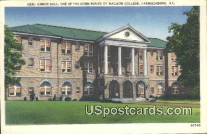 Junior Hall, Madison College - Harrisonburg, Virginia VA Postcard