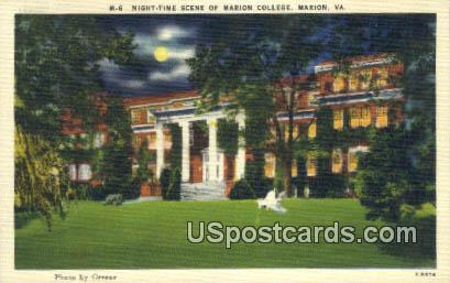 Marion College - Virginia VA Postcard