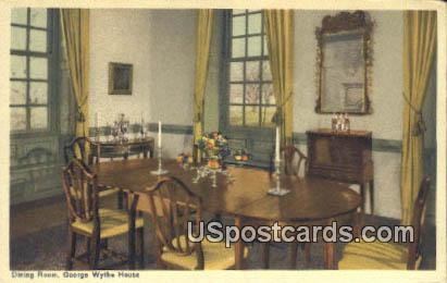 Dining Room, George Wythe House - Williamsburg, Virginia VA Postcard