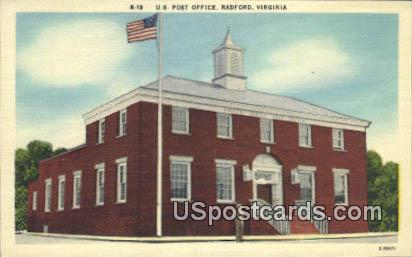 US Post Office - Radford, Virginia VA Postcard