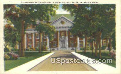 Administration Building, Roanoke College - Salem, Virginia VA Postcard