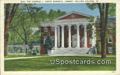 Charles L Cooke Library, Hollins College - Roanoke, Virginia VA Postcard