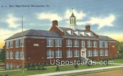 New High School - Martinsville, Virginia VA Postcard