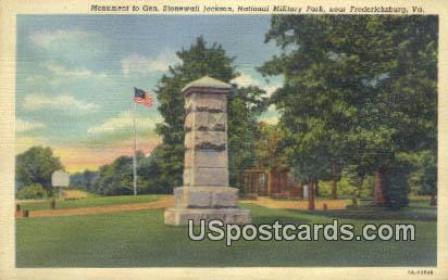 Monument to Gen Stonewall Jackson - Fredericksburg, Virginia VA Postcard