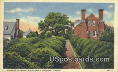 Boxwood, George Washington's Birthplace - Misc, Virginia VA Postcard