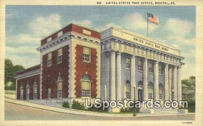 United States Post Office - Bristol, Virginia VA Postcard