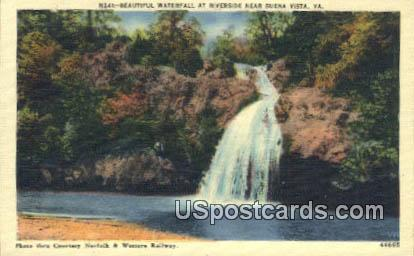 Waterfall, Riverside - Buena Vista, Virginia VA Postcard