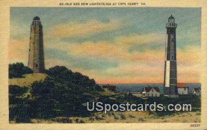 Old & New Lighthouses - Cape Henry, Virginia VA Postcard