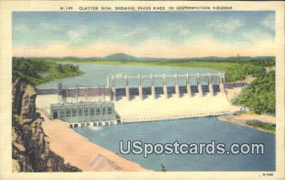Claytor Dam - Peaks Knob, Virginia VA Postcard