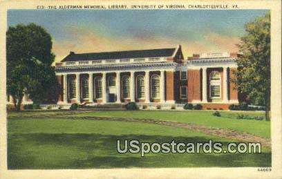 Alderman Memorial Library, U of Virginia - Charlottesville Postcard