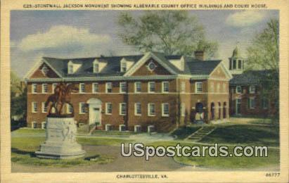 Stonewall Jackson Monument - Charlottesville, Virginia VA Postcard