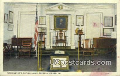 Washington's Mother Lodge - Fredericksburg, Virginia VA Postcard