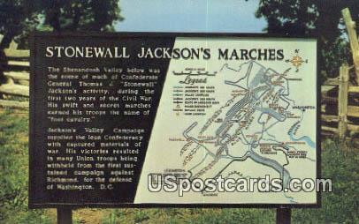 Stonewall Jackson's March - Misc, Virginia VA Postcard
