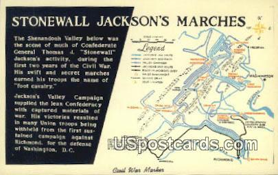 Stonewal Jackson Marches - Shenandoah National Park, Virginia VA Postcard