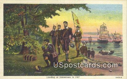 Landing at Jamestown 1607 - Virginia VA Postcard