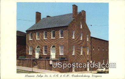 Masonic Lodge No 4 - Fredericksburg, Virginia VA Postcard