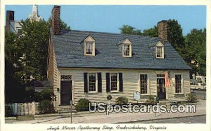 Hugh Mercer Apothecary Shop - Fredericksburg, Virginia VA Postcard