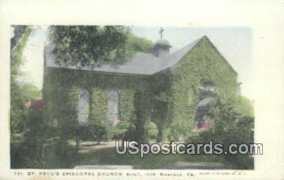 St Paul's Episcopal Church - Norfolk, Virginia VA Postcard