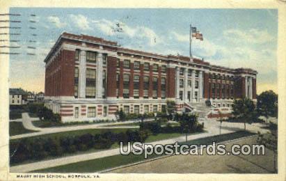 Maury High School - Norfolk, Virginia VA Postcard