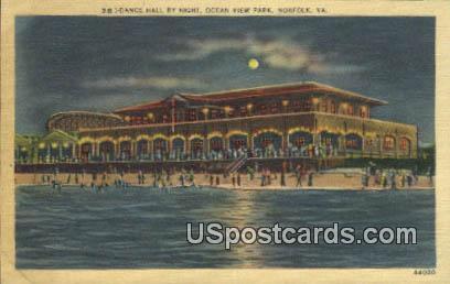 Dance Hall, Ocean View Park - Norfolk, Virginia VA Postcard