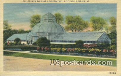 Flower Beds & Conservatory, City Park - Norfolk, Virginia VA Postcard