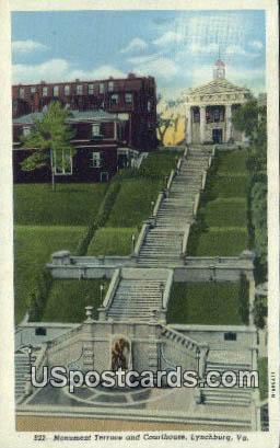 Monument Terrace & Courthouse - Lynchburg, Virginia VA Postcard