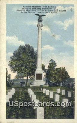 Spanish American War Section - Arlington National Cemetery, Virginia VA Postcard