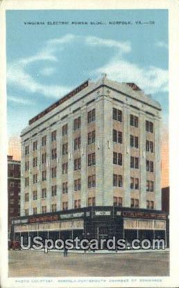 Virginia Electric Power Building - Norfolk Postcard