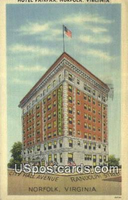Hotel Fairfax - Norfolk, Virginia VA Postcard