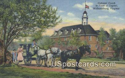 Colonial Coach - Williamsburg, Virginia VA Postcard