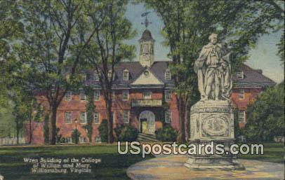 Wren Building of the College of William & Mary - Williamsburg, Virginia VA Postcard