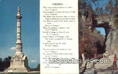 Yorktown Monument - Natural Bridge, Virginia VA Postcard