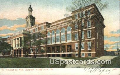 St Vincents De Paul Hospital - Norfolk, Virginia VA Postcard