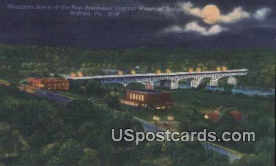 New Southwest Virginia Memorial Bridge - Radford Postcard
