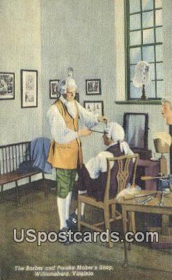 Barber, Peruke Marker's Shop - Williamsburg, Virginia VA Postcard