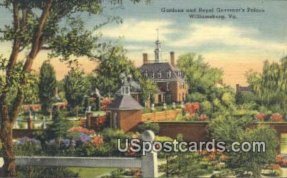 Gardens & Royal Governor's Palace - Williamsburg, Virginia VA Postcard