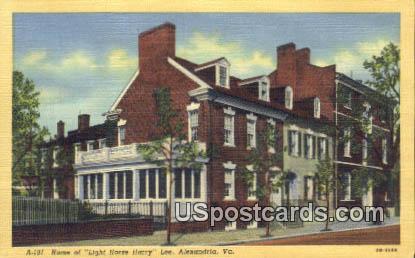 Home of Light Horse Harry Lee - Alexandria, Virginia VA Postcard