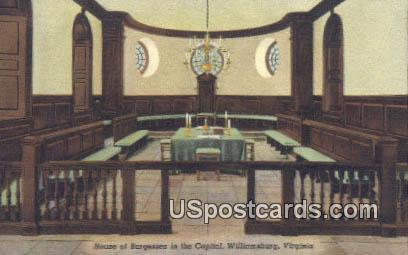 House of Burgesses, Capitol - Williamsburg, Virginia VA Postcard