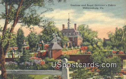 Gardens, Royal Governor's Palace - Williamsburg, Virginia VA Postcard