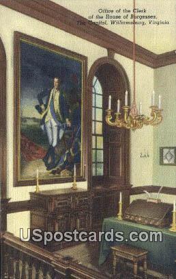 Office of the Clerk, Capitol - Williamsburg, Virginia VA Postcard