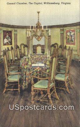 Council Chamber, Capitol - Williamsburg, Virginia VA Postcard