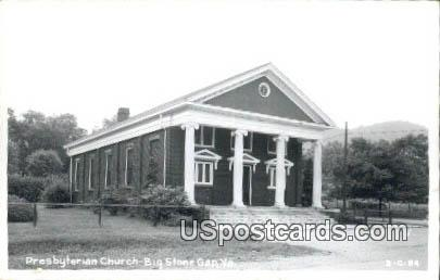 Presbyterian Church - Big Stone Gap, Virginia VA Postcard