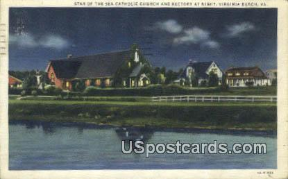 Catholic Church & Rectory - Virginia Beach Postcards, Virginia VA Postcard