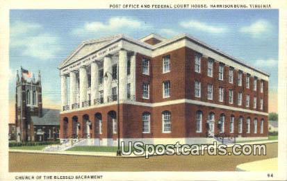 Post Office & Federal Court House - Harrisonburg, Virginia VA Postcard