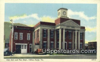 City Hall & Fire Dept - Clifton Forge, Virginia VA Postcard