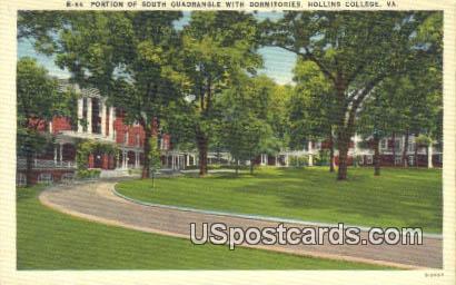 South Quadrangle, Hollins College - Roanoke, Virginia VA Postcard