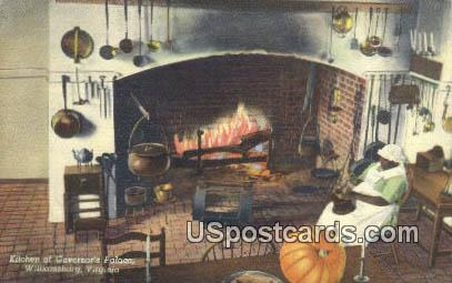 Kitchen, Governor's Palace - Williamsburg, Virginia VA Postcard