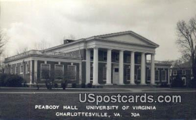 Real Photo - Peabody Hall, University of Virginia - Charlottesville Postcard